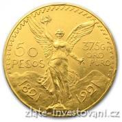 Zlatá investiční mince mexické 50 pesos-Centenario