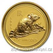 Investiční zlatá mince rok krysy 1996-lunární kalendář I