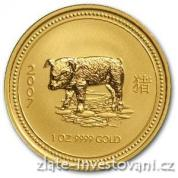 Investiční zlatá mince rok Vepře 2007-lunární série 1