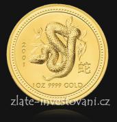 Investiční zlatá mince rok Hada 2001-lunární série č.1