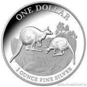 Investiční stříbrná mince australský klokan-různé ročníky
