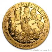 Zlatá mince k výročí 100 let americké ústavy-proof