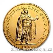 Zlatá mince Stokoruna Františka Josefa I. Uhersko 1908 -stojící panovník