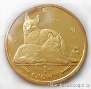 Investiční zlatá mince  koruna Manx-Kočky 2011