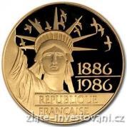 Zlatá mince 100 franků-1986
