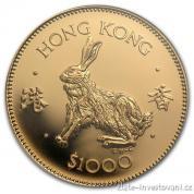 Investiční zlatá mince Králík 1987-Hongkong