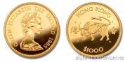 Zlatá mince rok Býka 1985-lunární série Honkong