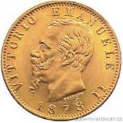 Investiční zlatá mince italská 20lira-Vittorio Emanuelle II.
