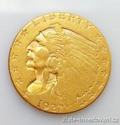 Zlatá mince americký quarter Eagle-indiánský náčelník 2.5 dollar 1927