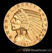 Zlatá mince americký half Eagle-Indiánský náčelník 5 dolarů 1916