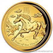 Investiční zlatá mince rok koně 2014 proof-lunární série č.2