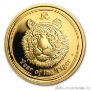 Investiční zlatá mince rok Tygra 2010-lunární série II proof