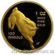 Investiční zlatá mince rok králíka 1987-Singapůr