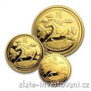 Set tří mincí lunárního kalendáře rok koně 2014-proof