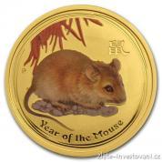Zlatá mince rok Krysy 2008-lunární serie II. kolorovaná verze