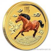 Zlatá mince rok koně 2014-lunárné série II.kolorovaná verze
