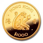 Investiční zlatá mince rok opice 1980-lunární série Honkong