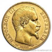 Zlatý francouzský 100 Frank-Napoleon III. 1857