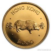 Investiční zlatá mince rok vepře 1983-lunární série Honkong