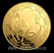 Zlatá mince rok Koně 2014-lunární série Francie PROOF
