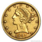 Zlatá mince liberty half Eagle 5 dolar