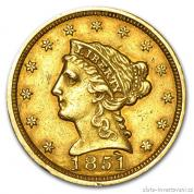 Zlatá mince liberty quarter Eagle 2.5 dollar 1851