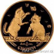 Investiční zlatá mince Tonkinská koťata-Manx 2004