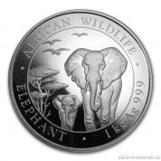 Investiční stříbrná mince somálský slon 2015