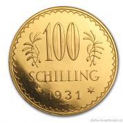 Zlatá mince rakouských sto šilinků-1931