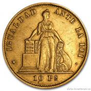 Zlatá mince Deset pesos-Chile