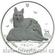 Investiční stříbrná mince Kočka angorská Manx-2011