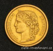 Zlatá mince švýcarský dvacetifrank-Helvetica 1886