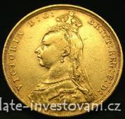 Investiční zlatá mince  britský Sovereign jubilejní -královna Victoria