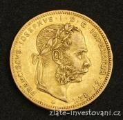 Zlatá mince Osmizlatník Františka Josefa I.rakouská ražba 1888