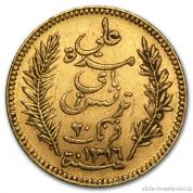 Zlatá mince tuniský Dvacetifrank