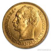 Zlatá mince dánská Dvacetikoruna-1908-1912-Frederik VIII.