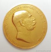 Zlatá mince jubilejní Stokoruna Františka Josefa I.ročník 1908-dáma v oblacích