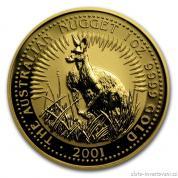 Investiční zlatá mince australský klokan 2001-nugget