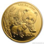 Investiční zlatá mince čínská Panda 2004