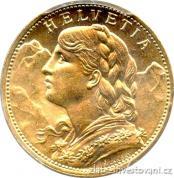 Zlatý švýcarský 20 frank Vrenelli 1947