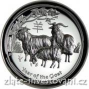 Stříbrná mince rok Kozy 2015-lunární série II.-vysoký reliéf