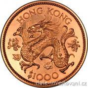 Zlatá mince lunární série Honkong-rok Draka 1976