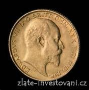 Investiční zlatá mince britský půl Sovereign-Edward VII. 1902-1910