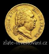 Zlatá mince francouzský čtyřicetifrank-Ludvík XVIII.