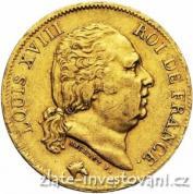 Zlatá mince francouzský dvacetifrank Louis XVIII.