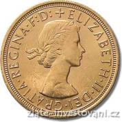 Investiční zlatá mince britský Sovereign-Alžběta II. 1957-1968