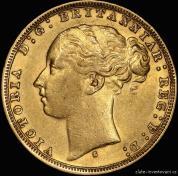 Zlatá mince  britský Sovereign -královna Victoria 1871-1887 mladý portrét