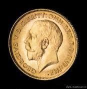 Investiční zlatá mince britský půl Sovereign-George V.