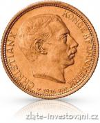 Zlatá mince dánská Dvacetikoruna-1913-1917-Christian X.