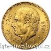 Zlatá mince 10 pesos Hidalgo-Mexiko